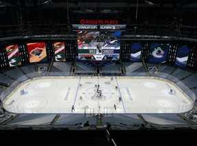 The  Minnesota Wild and the Vancouver Canucks face off in Game One of the Western Conference Qualification Round prior to the 2020 NHL Stanley Cup Playoffs at Rogers Place in Edmonton on August 02, 2020.