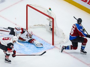 Colorado Avalanche right-winger Mikko Rantanen (96) scores a goal against the Arizona Coyotes during the third period in game one of the first round of the 2020 Stanley Cup Playoffs at Rogers Place on Aug. 12, 2020.