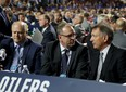 Ken Holland, right, Keith Gretzky, middle, and Bob Green, of the Edmonton Oilers attend the 2019 NHL Draft at Rogers Arena on June 22, 2019 in Vancouver.