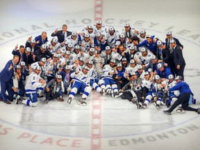 The Tampa Bay Lightning pose with the Stanley Cup after defeating the Dallas Stars in Game 6 of the 2020 Stanley Cup Final at Rogers Place on Monday, Sept. 28, 2020.