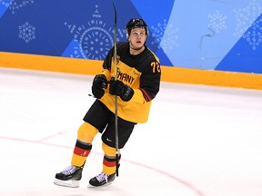 Dominik Kahun of Germany celebrates after scoring against Russia during the gold-medal game on Day 16 of the PyeongChang 2018 Winter Olympic Games on Feb. 25, 2018, in Gangneung, South Korea.