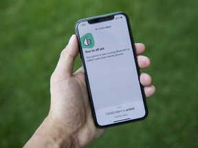 The COVID Alert app is seen on an iPhone in Ottawa, on Friday, July 31, 2020.