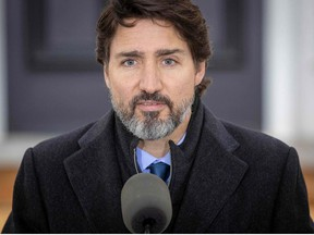 In this file photo taken on November 20, 2020 Canadian Prime Minister Justin Trudeau speaks during a Covid-19 pandemic briefing from Rideau Cottage in Ottawa.
