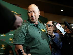 Edmonton Football Team head coach Scott Milanovich gets introduced at a press conference at the Sawmill Restaurant in Sherwood Park on Jan. 15, 2020.