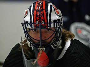 Edmonton Oilers goalie Mike Smith takes part in the team's 2021 training camp at the Northern Alberta Institute of Technology on Jan. 3, 2021.
