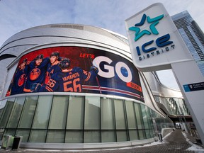 An electronic billboard advertises the Oilers at Rogers Place in downtown Edmonton on Jan. 24, 2021.