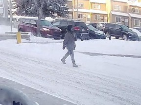 Edmonton police are looking for a male homicide suspect seen in a parking lot of a townhouse complex near 139 Avenue and 35 Street on Feb. 17, 2021 around 8:30 a.m.