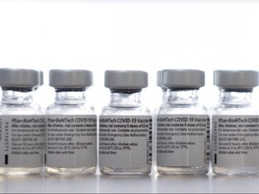 Pfizer/BioNTech Covid-19 vaccines are pictured on Feb. 11, 2021.