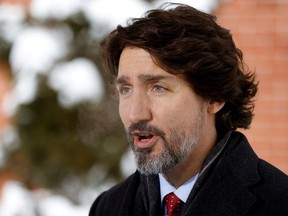 Prime Minister Justin Trudeau attends a news conference at Rideau Cottage, as efforts continue to help slow the spread of the coronavirus disease (COVID-19), in Ottawa, Ontario, Canada January 22, 2021.
