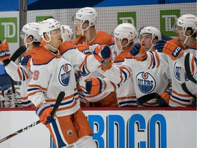 Edmonton Oilers forward Alex Chiasson (39) celebrates his goal against the Vancouver Canucks  in the second period at Rogers Arena on Feb. 25, 2021.