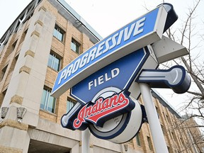 The Cleveland Indians logo is seen at the team's Progressive Field on December 16, 2020 in Cleveland.