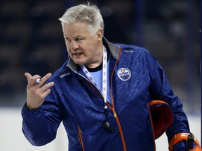 Rick Carriere, Senior Director of Player Development gives out some instructions during Prospect camp at Rexall Place in Edmonton, Alberta on Thursday, July 2, 2015.