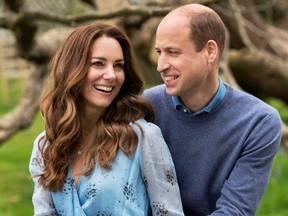 Prince William and Catherine, Duchess of Cambridge, pose at Kensington Palace to mark their 10th wedding anniversary.