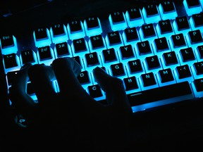 A close-up view of a customized illuminated keyboard used at an esport tournament on Oct. 12, 2019, in Kettering, England.