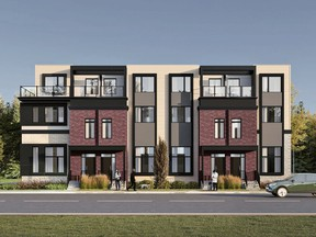 An artist's rendering of the front exterior of the Flats in Rossdale, by Parkwood Master Builder.
