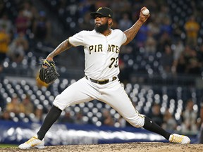 Felipe Vazquez of the Pittsburgh Pirates pitches against the Miami Marlins at PNC Park on September 3, 2019 in Pittsburgh. (Justin K. Aller/Getty Images)