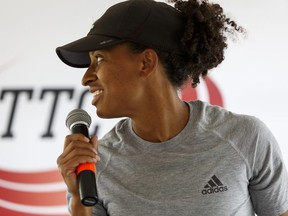 Hurdler Angela Whyte speaks during a press conference for the TrackTown Classic slated for July 15, at Foote Field in Edmonton, on Wednesday, July 13, 2016.