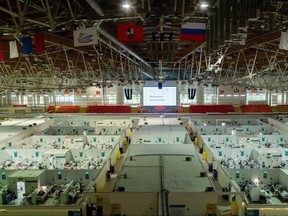 A general view of treatment blocks at a temporary hospital in the Krylatskoye Ice Palace, where patients suffering from COVID-19 are treated, in Moscow, June 11, 2021.