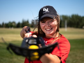 Reese Jones is a Vimy Ridge Academy graduate who will be attending Gardner-Webb University to play field lacrosse in the fall, handles the ball in Edmonton on June 30, 2021.