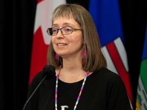 Dr. Deena Hinshaw, Alberta chief medical officer of health, gives her final regularily scheduled COVID-19 update during a press conference at the Federal Building in Edmonton, on Tuesday, June 29, 2021.