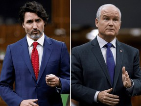 Prime Minister Justin Trudeau, left, and Conservative Party Leader Erin O'Toole.