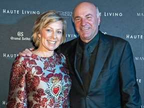 Linda and Kevin O'Leary attend Haute Living and Grand Seiko Host Cover Dinner in honour of Morimoto, celebrating Miami food and wine at Le Sirenuse on Feb. 20, 2020 in Surfside, Fla.