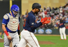 Minnesota Twins outfielder Byron Buxton celebrates his two-run home run off against the Blue Jays during the third inning at Target Field on Friday night.