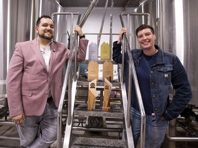Adam Corsaut, president of Analog Brewing Company, with head brewer Lisa Drapaka on Sunday, Sept. 26, 2021 in Edmonton. This small Edmonton brewery, which opened in 2018, has earned gold at the 2021 Canadian Brewing Awards in the Cream Ale category for their Retro Style - Pre Prohibition Cream Ale.