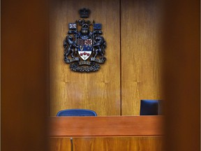 The inside of an Edmonton courtroom.