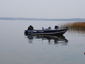 Breton RCMP supplied a photo of a boat found anchored on Buck Lake at about 11:50 a.m. on Oct. 5, 2021. The body of the missing boater was found on Monday.