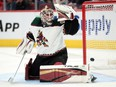 Arizona Coyotes goaltender Carter Hutton (40) allows a goal against the St. Louis Blues during the second period at Gila River Arena, Oct. 18, 2021.