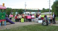 Photo by KEVIN McSHEFFREY/THE STANDARD Earlier this month, a number of Blind River residents in the Shiv-ron and Longview streets area protested council's decision to remove the playground equipment from Shiv-ron Park and convert it to greenspace.