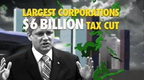 A Liberal TV ad slammed Conservative plans for corporate tax cuts.