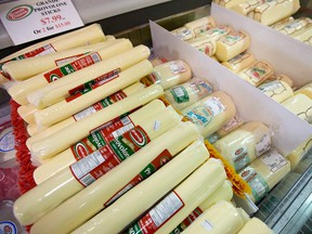 Canadian cheese on display for sale in Toronto.