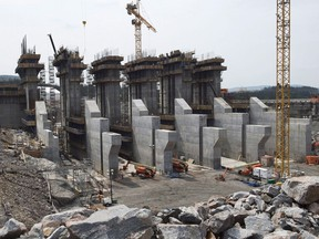 The construction site of the hydroelectric facility at Muskrat Falls, Newfoundland and Labrador. First power from the dam and hydro station under construction on the lower Churchill River was expected next year, but Nalcor Energy CEO Stan Marshall now says first power is delayed until the fall of 2019.
