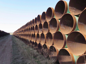 A yard which has hundreds of kilometres of pipes stacked
