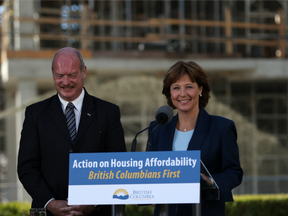 Premier Christy Clark and Finance Minister Michael de Jong, discuss amendments regarding housing issues in Greater Vancouver