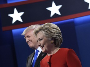 Republican presidential nominee Donald Trump, left, and Democratic presidential nominee Hillary Clinton