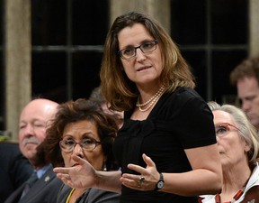 International Trade Minister Chrystia Freeland responds to a question during question period.
