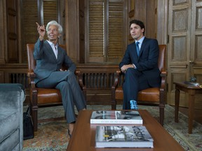 Canadian Prime Minister Justin Trudeau meets managing director of the International Monetary Fund (IMF) Christine Lagarde on Parliament Hill