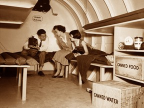 A H-Bomb shelter in the 1950s American Cold War: Today underground bunkers with hazardous materials suits are back in vogue.