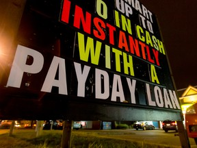 The use of payday loans, where charges in some provinces can be equivalent to an annual percentage rate of 500 per cent, has doubled recently to four per cent of Canadian households.