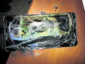 A damaged Samsung Galaxy Note 7 after it caught fire.
