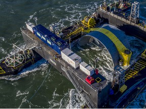 In this early November photo, the 1000 tonne turbine can be seen in the deployment barge Scotia Tide, just before being lowered to the seafloor.
