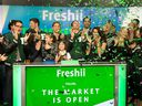 Matthew Corrin (centre) Freshii founder and CEO at the company's IPO with family, friends and employees at the TMX Exchange in Toronto, Tuesday January 31, 2017.