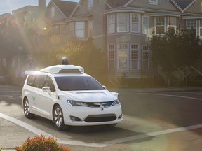 A customized Chrysler Pacifica Hybrid that will be used for Google's autonomous vehicle program