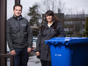 Managing partners Colin Bell and Jaclyn McPhadden at their  RecycleSmart offices in Richmond, B.C.