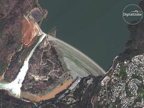 An image of the damaged Oroville Dam in California, taken by DigitalGlobe's  Worldview-4 satellite.