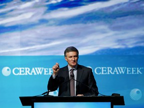 Al Monaco, president and chief executive officer of Enbridge Inc., speaks during the 2017 IHS CERAWeek conference in Houston, Texas, U.S., on Monday, March 6, 2017. CERAWeek gathers energy industry leaders, experts, government officials and policymakers, leaders from the technology, financial, and industrial communities toprovide new insights and critically-important dialogue on energy markets.