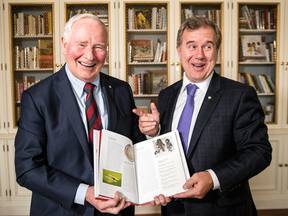 Governor General David Johnston, left, and former tech CEO Tom Jenkins with their new book, Ingenious: How Canadian Innovators Made the World Smarter, Smaller, Kinder, Safer, Healthier, Wealthier and Happier at Rideau Hall.